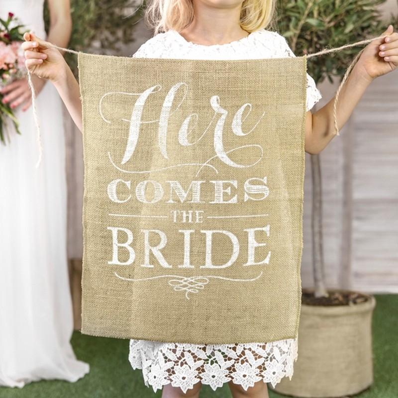 BANER z juty na przejście Panny Młodej Here comes the Bride