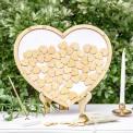 KSIĘGA GOŚCI drewniana w ramie w kształcie SERCA (+70 serc)