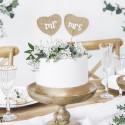 TOPPERY na tort z juty Mr&Mrs w kształcie serc 2szt