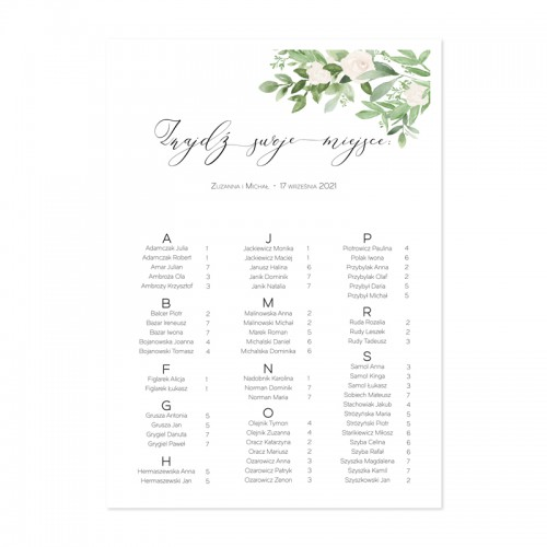 PLAN stołów personalizowany Delikatne Kwiaty