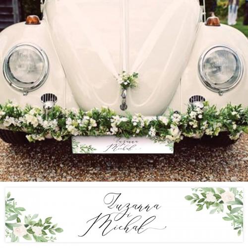 TABLICE rejestracyjne ślub Z NADRUKIEM Delikatne Kwiaty