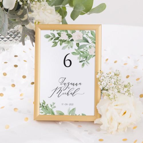 NUMEREK na stół wesele z imionami Delikatne Kwiaty