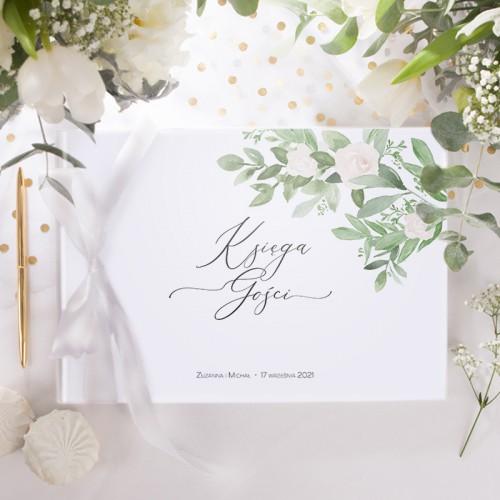KSIĘGA GOŚCI weselnych z imionami Delikatne Kwiaty (+wstążka biała)