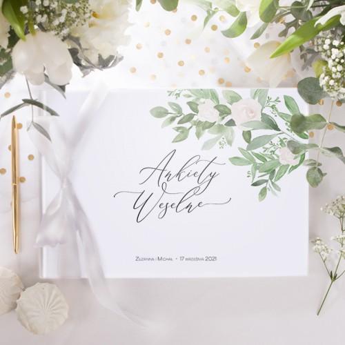 KSIĘGA GOŚCI Ankiety Weselne Delikatne Kwiaty (+wstążka biała)