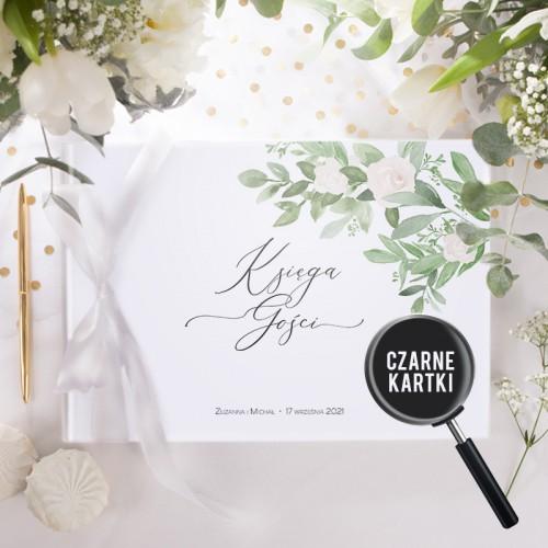 KSIĘGA GOŚCI czarne kartki fotobudka Z IMIONAMI Delikatne Kwiaty (+wstążka biała)