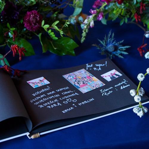KSIĘGA GOŚCI czarne kartki fotobudka Z IMIONAMI Delikatne Kwiaty
