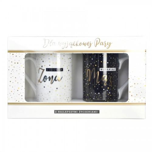 KUBKI na prezent dla Młodej Pary W OPAKOWANIU Cudowna Żona Wspaniały Mąż