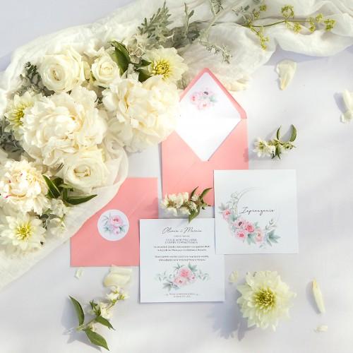 ZAPROSZENIE ślubne Zapach Piwonii (+koperta z wnętrzem+naklejka)