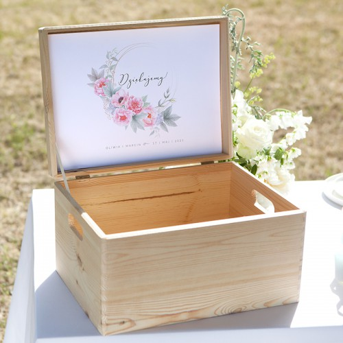SKRZYNIA na koperty naturalne drewno Zapach Piwonii Z IMIONAMI DUŻA