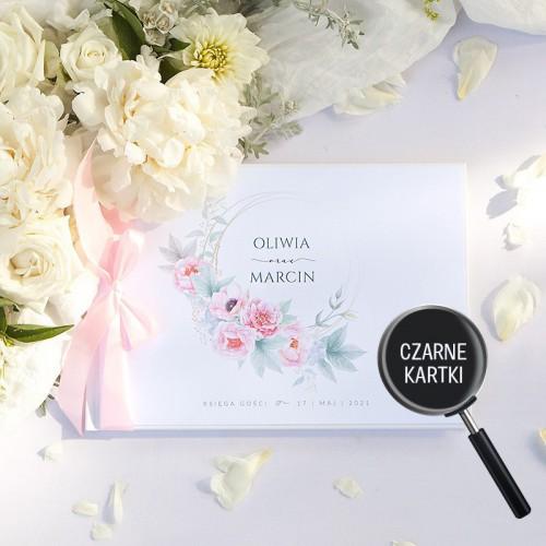 KSIĘGA GOŚCI czarne kartki fotobudka Z IMIONAMI Zapach Piwonii (+wstążka jasnoróżowa)