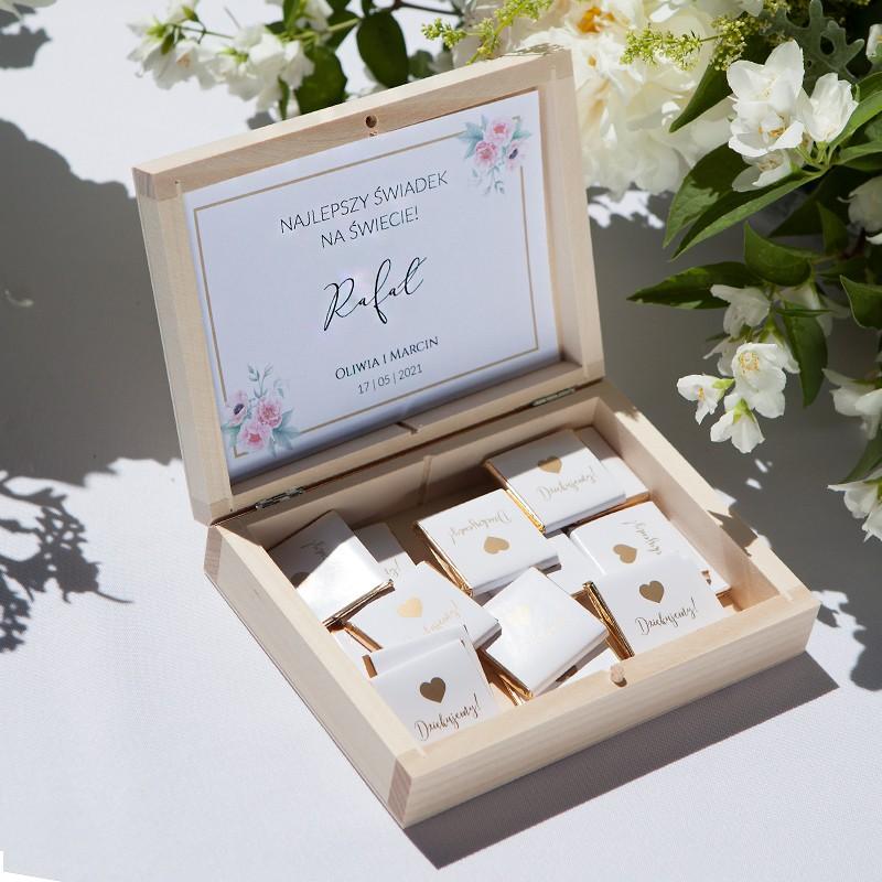 PODZIĘKOWANIE dla Świadka w drewnianym pudełku Zapach Piwonii