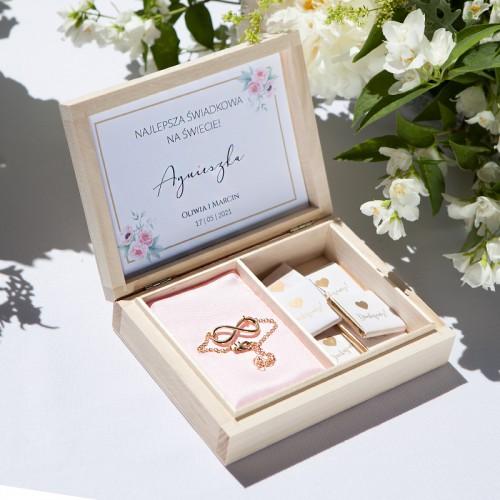 PODZIĘKOWANIE dla Świadkowej w drewnianym pudełku Zapach Piwonii