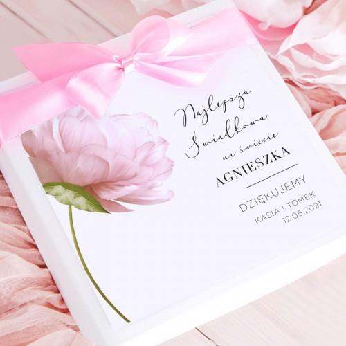 PODZIĘKOWANIE dla Świadkowej Bombonierka z czekoladkami Romantyczna Piwonia Z IMIENIEM