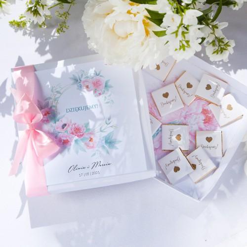 PODZIĘKOWANIE dla Rodziców/Świadków bombonierka Zapach Piwonii Z IMIONAMI
