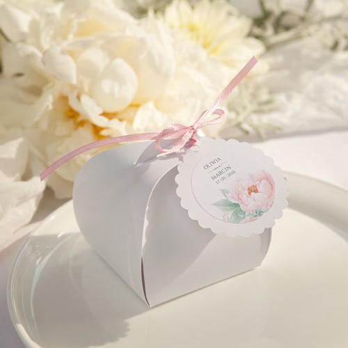 PUDEŁECZKA podziękowanie dla gości BIAŁE ELEGANCKIE 10szt (bileciki kółka+naklejki Zapach Piwonii)