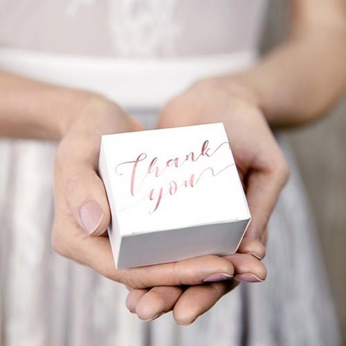 PUDEŁECZKA podziękowanie Thank You NAPIS ROSEGOLD BŁYSK