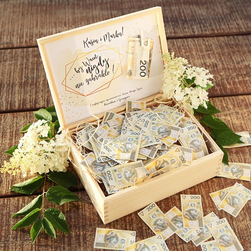 PREZENT na ślub dla Pary Młodej SKRZYNIA Pełna Kasy Z IMIONAMI