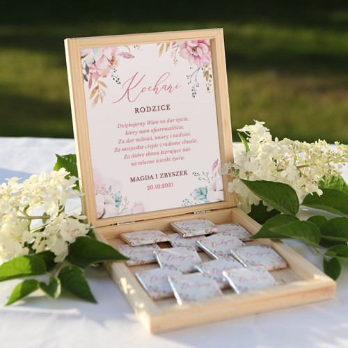 PODZIĘKOWANIE dla Rodziców skrzyneczka z czekoladkami Z IMIONAMI Subtelny Róż