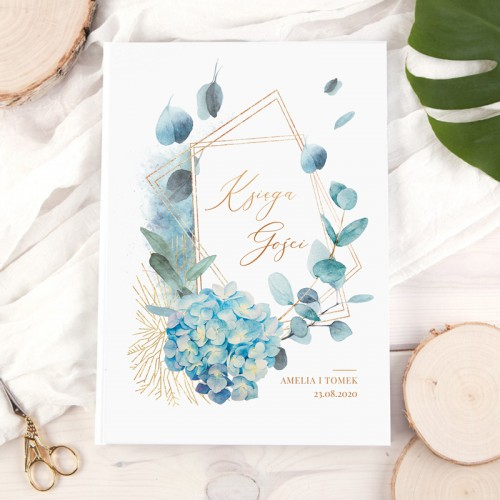 KSIĘGA gości weselnych Z IMIONAMI Blue Eukaliptus PION 200 stron