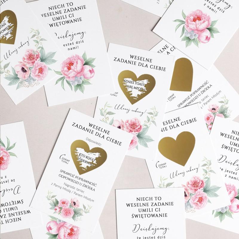 Zdrapki z zadaniami dla gości weselnych z piwoniami