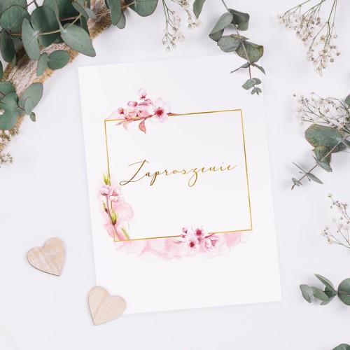 ZAPROSZENIE ślubne dwustronne Z IMIONAMI Kwiat Wiśni