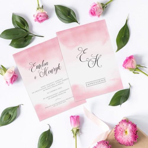 ZAPROSZENIE ślubne dwustronne Z IMIONAMI Różowa Akwarela