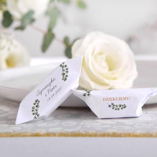 KRÓWKI podziękowanie dla gości na Ślub Eukaliptus 20szt Z IMIONAMI