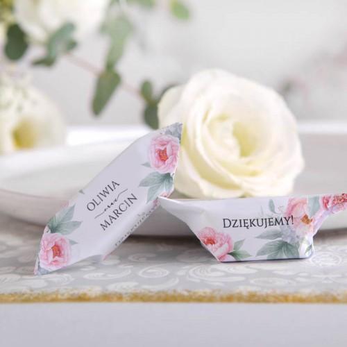 KRÓWKI podziękowanie dla gości na Ślub Zapach Piwonii 20szt Z NADRUKIEM