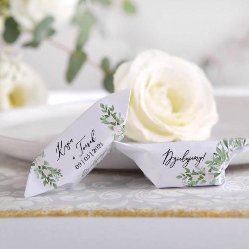 KRÓWKI podziękowanie dla gości na Ślub Delikatne Kwiaty Z IMIONAMI 20szt