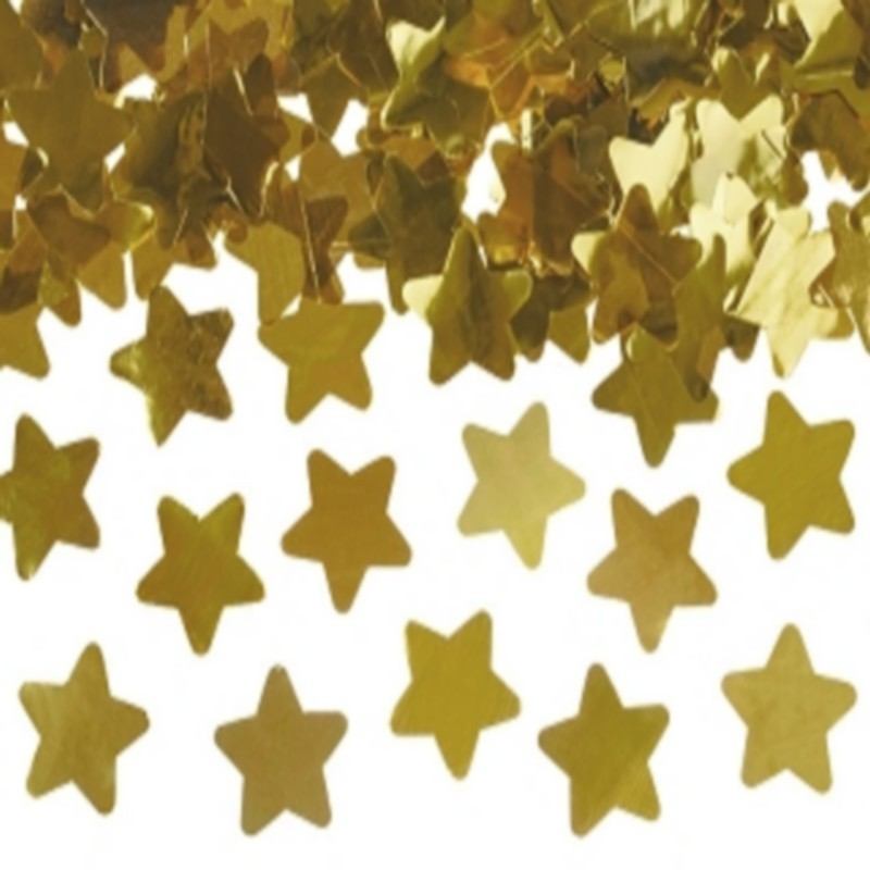 KONFETTI WYSTRZAŁOWE deszcz złotych gwiazd MEGA TUBA 60cm