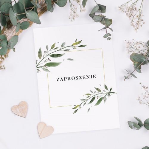 ZAPROSZENIE ślubne dwustronne Z IMIONAMI Natural Leaf