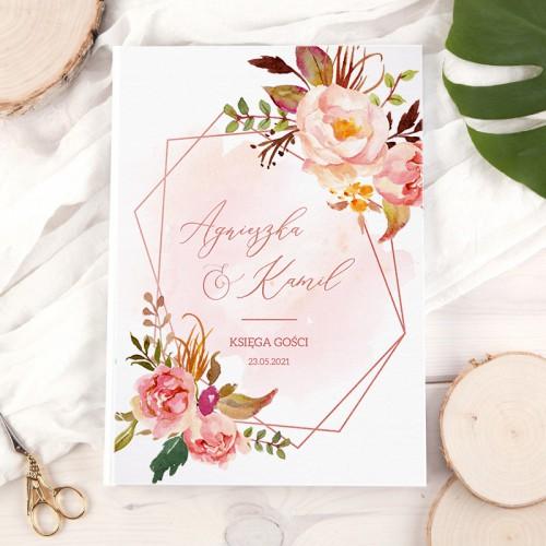 KSIĘGA gości weselnych Z IMIONAMI Rosegold Flowers PION 200 stron