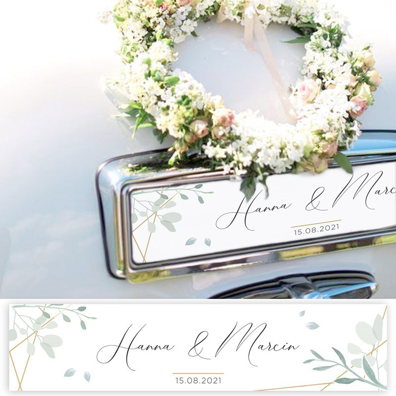 TABLICA rejestracyjna personalizowana Srebrno-Złoty Ślub
