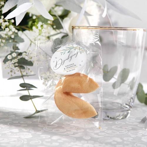 CIASTECZKA z wróżbą Srebrno-Złoty Ślub 10szt (+etykiety z imieniem)