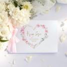 KSIĘGA GOŚCI weselnych z imionami Kwiatowe Serce (+wstążka j.róż)