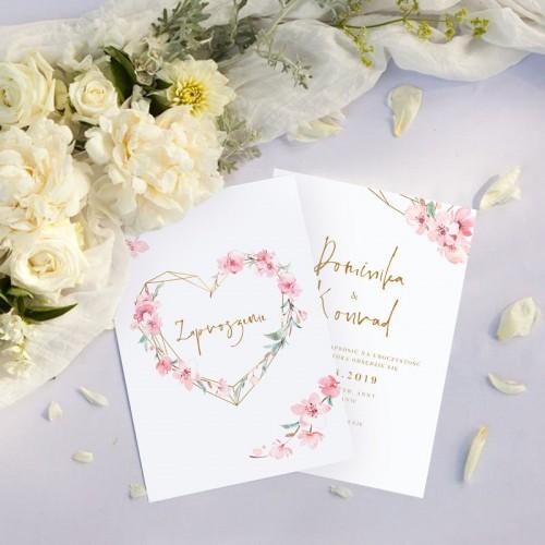 ZAPROSZENIE ślubne dwustronne Z IMIONAMI White Flowers