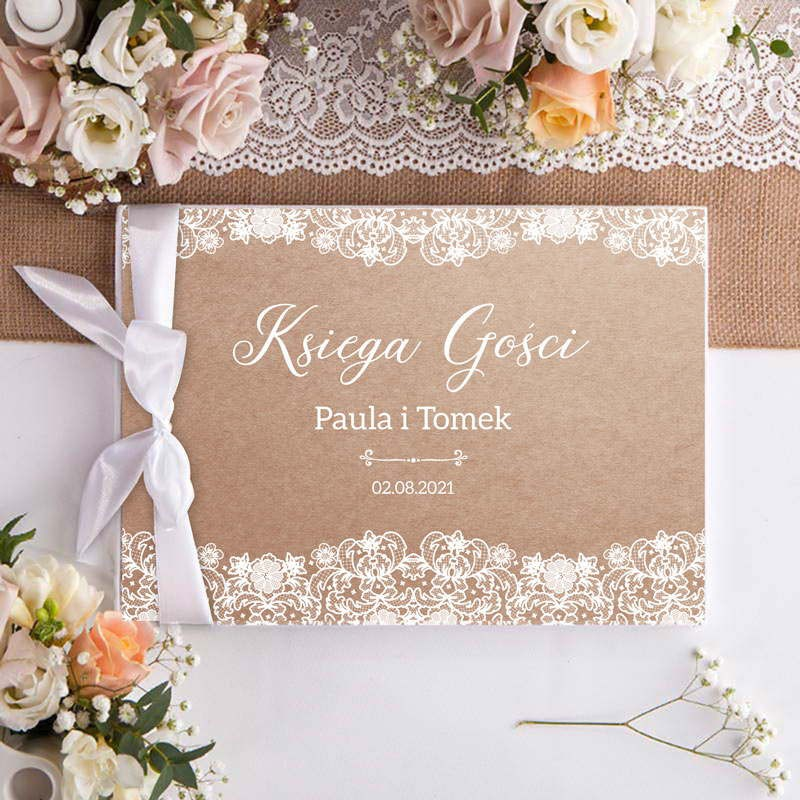KSIĘGA GOŚCI weselnych z imionami Kolekcja Vintage Lace