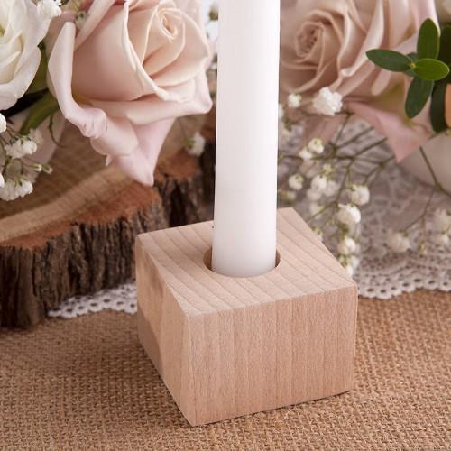 ŚWIECZNIK drewniany na prostą świecę i tealight NATURALNY 4cm