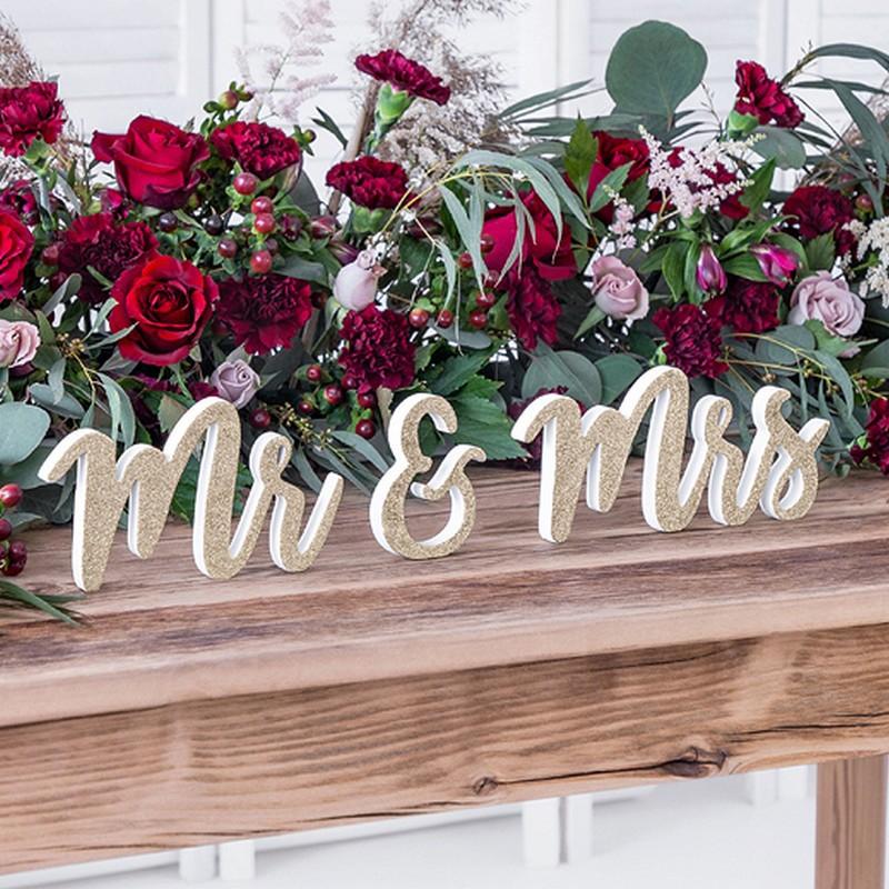 NAPIS drewniany z brokatem Mr&Mrs