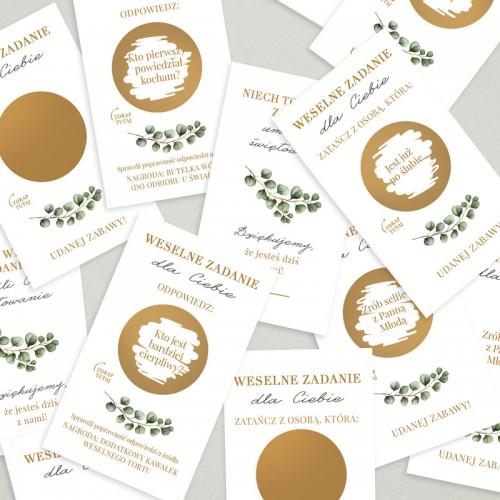 ZDRAPKI zadania dla gości weselnych Eukaliptus 20szt DUŻY FORMAT