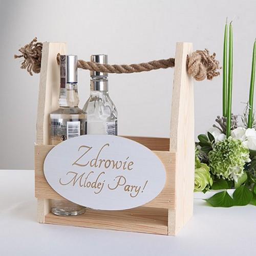 NOSIDŁO drewniane na alkohol weselny na 6 butelek