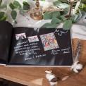 KSIĘGA GOŚCI personalizowana z czarnymi kartkami LOVE SREBRNE