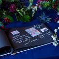 KSIĘGA GOŚCI personalizowana z czarnymi kartkami Flowers&Stripes