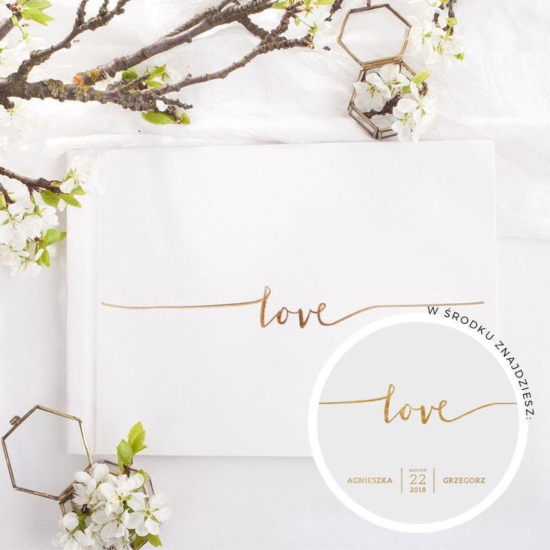 KSIĘGA GOŚCI weselnych z napisem Love ZŁOTA złocona Nadruk imion w środku