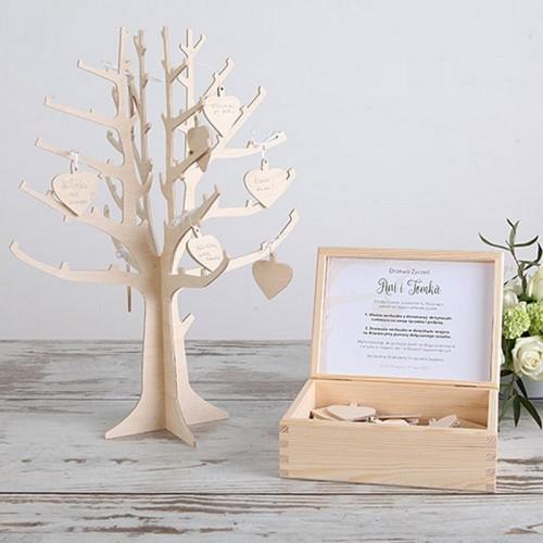 KSIĘGA GOŚCI weselnych drewniane Drzewo Życzeń