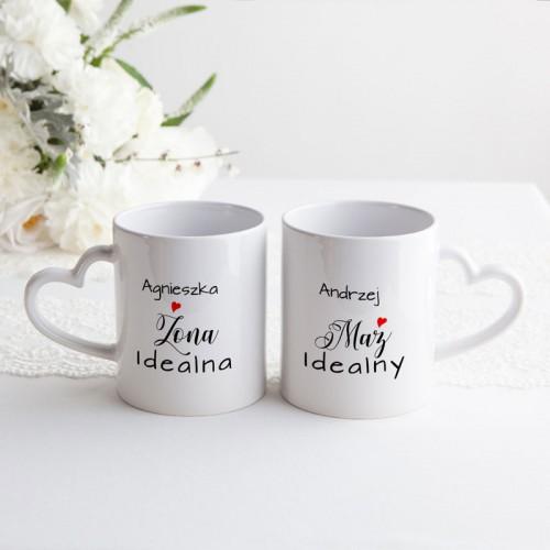 PREZENT na ślub Kubki dla Pary Młodej z sercem 2szt IDEALNI