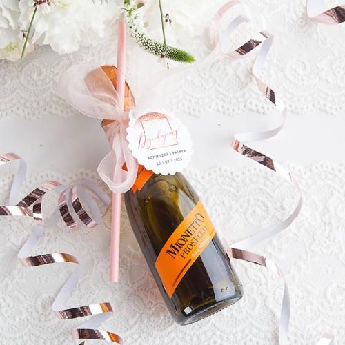 PROSECCO podziękowanie dla gości weselnych Z IMIONAMI 200ml (+słomka+wstążka)