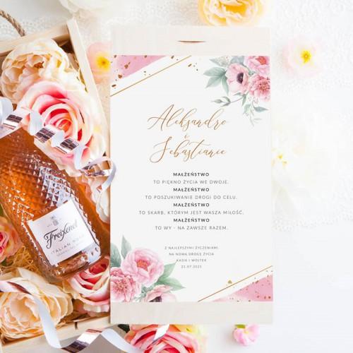 PREZENT na ślub Szampan Kryształowy LUX w skrzyni Z Imionami