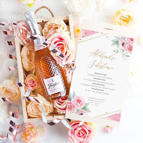 PREZENT na ślub Wino musujące Kryształowe LUX w skrzyni Z Imionami