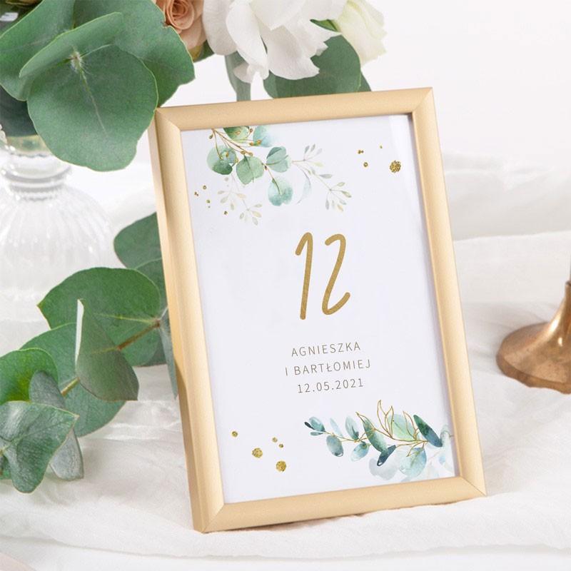 NUMEREK na stół wesele z imionami Gałązka Eukaliptusa